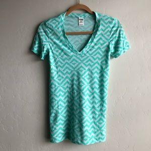 Victoria's Secret PINK blue v neck t shirt
